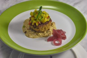 Smoked Crab Cake NOLA Remoulade - Dragon Fruit Salsa with Starfruit