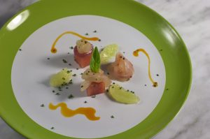 Triggerfish Crudo with Fresh Pressed Vanilla Bean Watermelon - Habanero Oil, Meyer Lemon Zest- Thai Basil & Lime Supreme