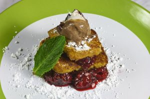 Angel Food Cake French Toast - Raspberry Compote with Raspberry Truffle Ice Cream