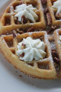 Belgian Waffle with Honey Whipped Ricotta, Toasted Pecans and Maple Syrup