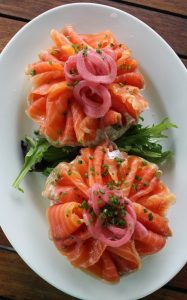 New York Style Bagel with Gravlax, Scallion Cream Cheese and Pickled Red Onions