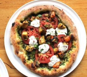 Pizza Bar's Farmer's Pizza with Heirloom Tomato, Basil Pesto, Turkish Eggplant, Ricotta.
