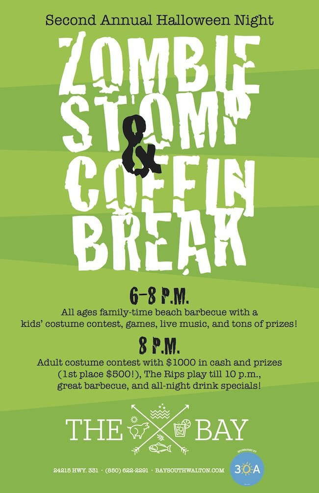 Come join the fun at the 2nd Annual Zombie Stomp & Coffin Break at the Bay Restaurant.