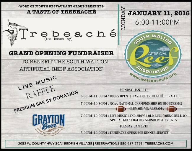 Extend your weekend to monday and join us at the Grand Opening Fundraiser benefiting the South Walton Artificial Reef Association