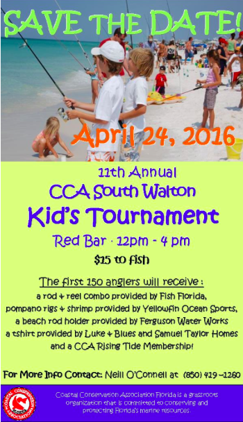 Bring the kids to enjoy the fun at the 11th Annual CCA Kid's Fishing Tournament in Grayton Beach on Sunday April 24th.