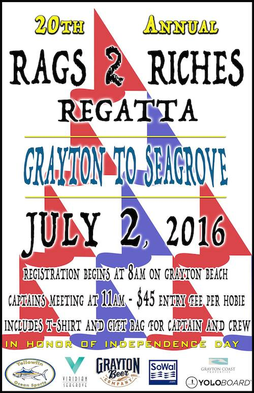 Join us on Saturday July 2 on Grayton Beach for the 20th Annual Rags 2 Riches Regatta.