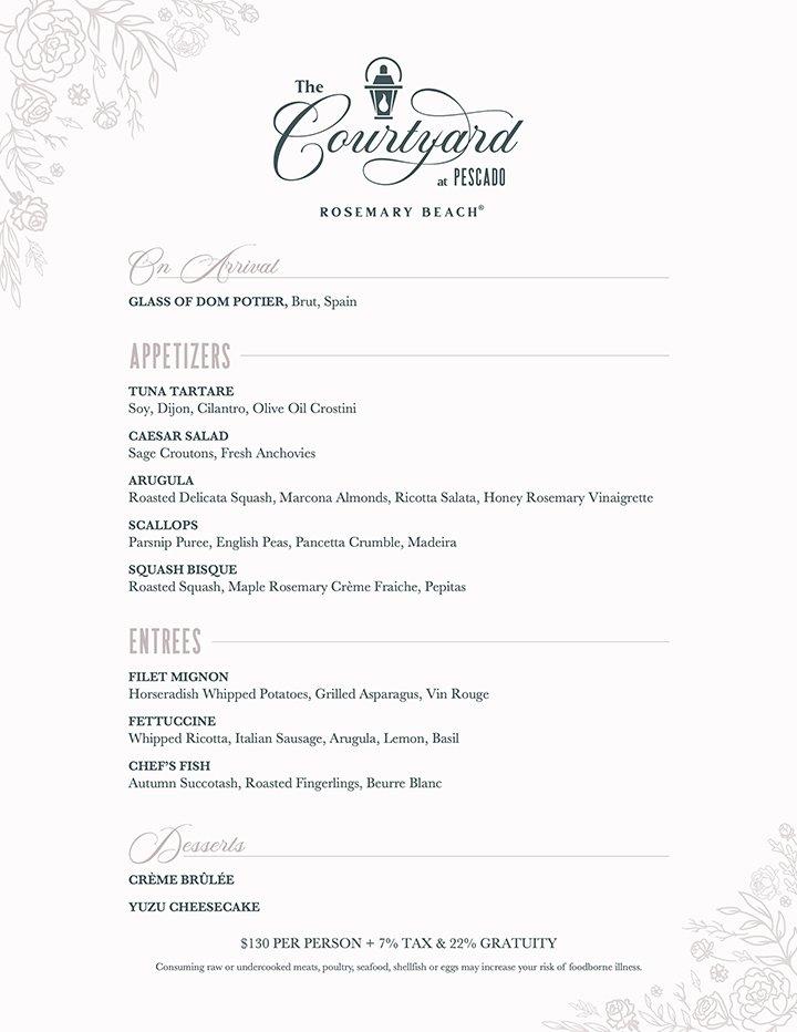 Pescado Valentine's Day menu