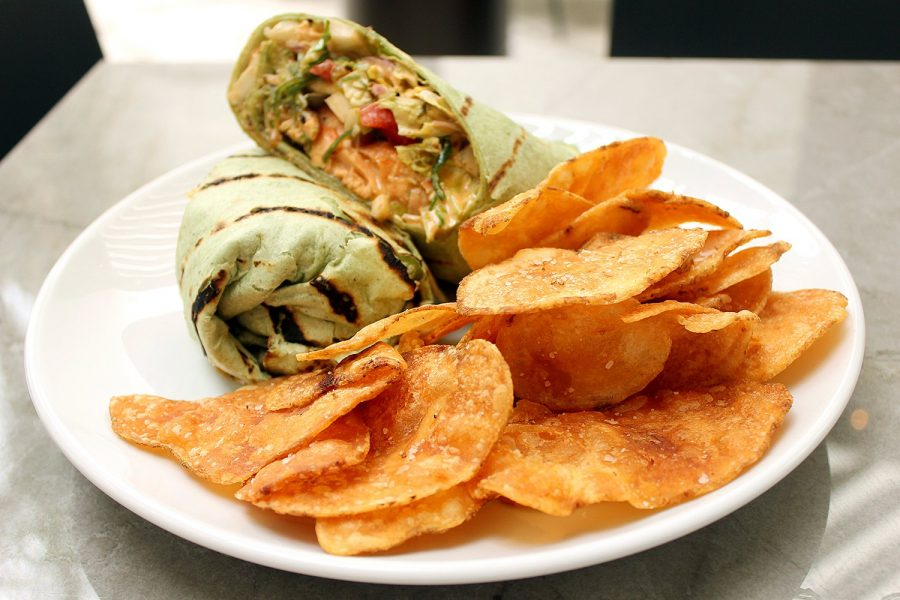 Grilled salmon and wakame wrap