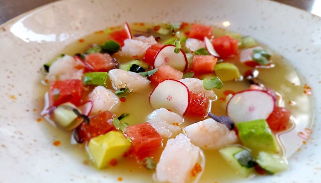 Watermelon and Chilled Gulf Shrimp Aguachile